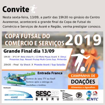 Definidos confrontos da Final da Copa de Futsal do Comércio e Serviços 2019