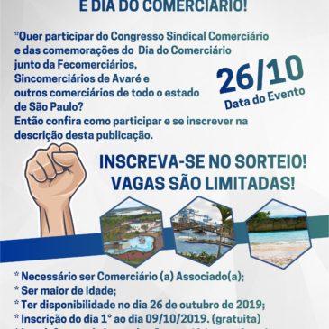 Sorteio Congresso Sindical Comerciário e Dia do Comerciário da Fecomerciários 2019