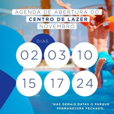 Agenda das datas de abertura do Parque Aquático no mês de novembro.