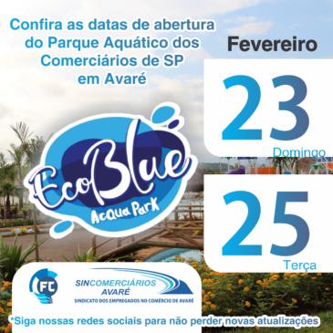 Calendário EcoBlue Acqua Park em Avaré para Fevereiro