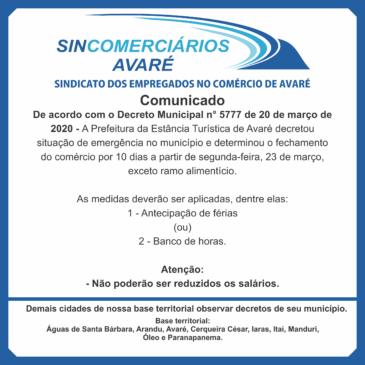 URGENTE!!! ORIENTAÇÃO DECRETO 5777/2020 PREFEIT. AVARÉ – SINCOMERCIÁRIOS AVARÉ!