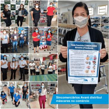 Sincomerciários Avaré distribui máscaras no comércio